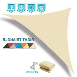 160 GSM Right Triangle Beige Sun Shade Sail Outdoor Garden P