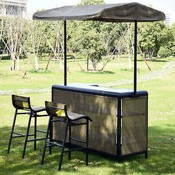 Outsunny 3 PC Outdoor Canopy Bar Table Chairs Mesh Cloth Sto