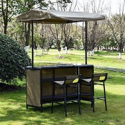 3 PC Outdoor Patio Mesh Cloth Canopy Bar Table Chairs Stools