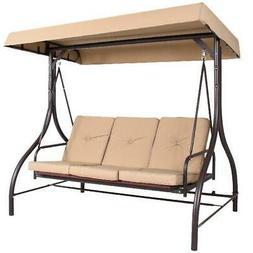 3-Seat Converting Outdoor Patio Canopy Swing Hammock-Tan, 73
