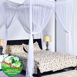 4 Corner Post Bed Canopy White Mosquito Net Full Queen King