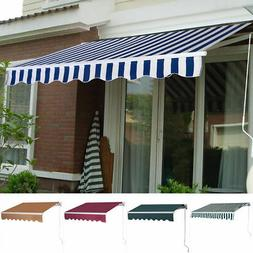 9.8'X8.2' Manual Patio Canopy Retractable Deck Awning Sunsha