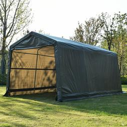 Outdoor Auto Storage Shed Shelter Portable Garage Steel Cano