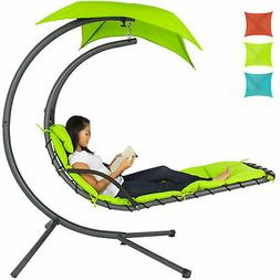 BCP Hanging Curved Chaise Lounge Chair w/ Built-In Pillow, R