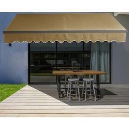 ALEKO Motorized Black Frame Retractable Home Patio Canopy Aw