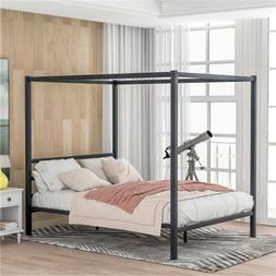 Black Queen Size Metal Frame Canopy Bed Platform Bed with He