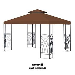 BenefitUSA Brown Double Tier Replacement 10'X10'Gazebo Canop