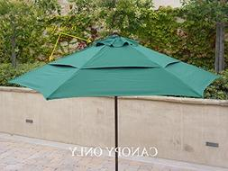 Double Vented 9ft Umbrella Replacement Canopy 6 Ribs in Gree