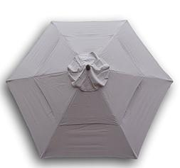 Double Vented 9ft Umbrella Replacement Canopy 6 Ribs in Taup