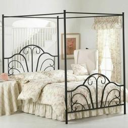 Full Queen King Size Black Metal Canopy Bed Frame Scroll Hea