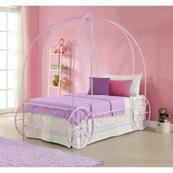 Girls Purple Twin Metal Canopy Bed Frame Princess Carriage H