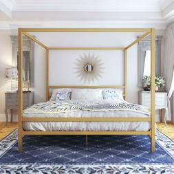 King Size Dark Gold Metal Canopy Bed Frame Headboard Modern