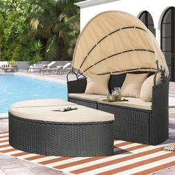 Homall Outdoor Patio Round Daybed with Retractable Canopy Wi