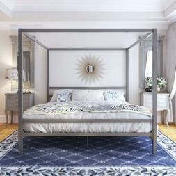 King Size Gray Grey Metal Canopy Bed Frame Headboard Modern