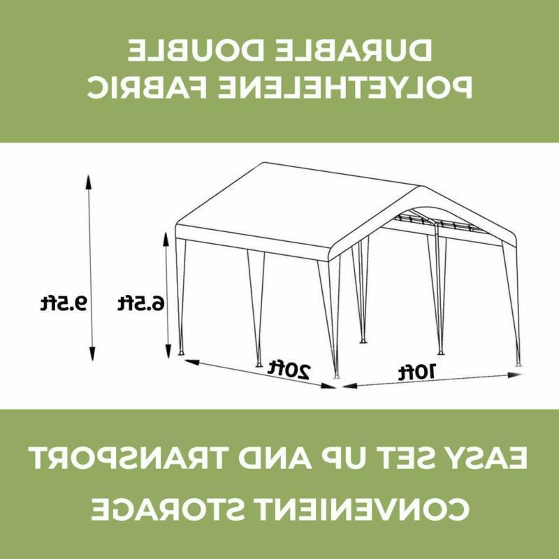 Abba 10 20-Feet Outdoor Carport with Beige