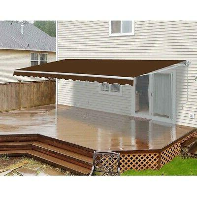ALEKO 10 x 8 Ft Retractable Home Patio Canopy Awning, Brown