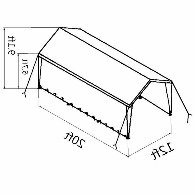Abba Patio 12 20-Feet Heavy Duty Car Shelter Removable Si