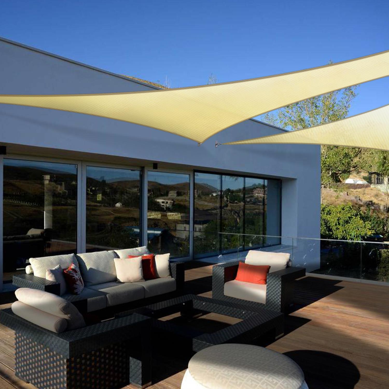 160 GSM Beige Sail Outdoor Garden Patio Canopy