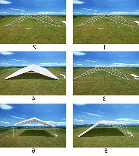 GOJOOASIS x 20 ft Commercial Wedding Frame Tent Outdoor Metal Carport w/Sidewalls 3 Rooms