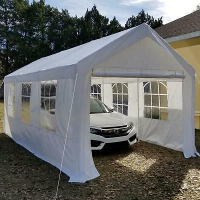 Quictent 10'x20' White Carport Car Shelter Garage Canopy Gaz