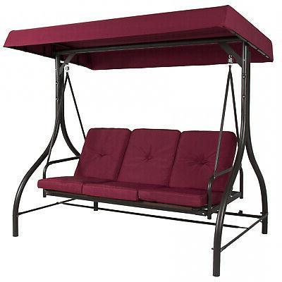 3-Seat Outdoor Patio Seating Canopy Swing Hammock