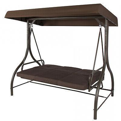 3-Seat Outdoor Patio Canopy Hammock Brown Tan