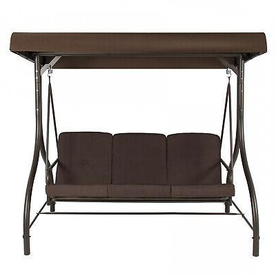 3-Seat Patio Seating Canopy Hammock Brown Red Tan
