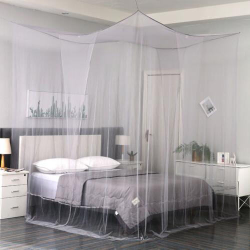 gray 4 corner post mosquito net curtain