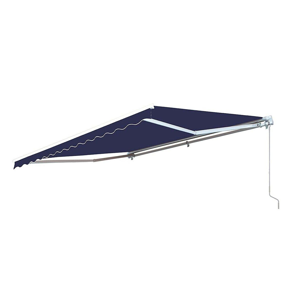 Blue Patio Retractable Awning Deck Canopy Shelter