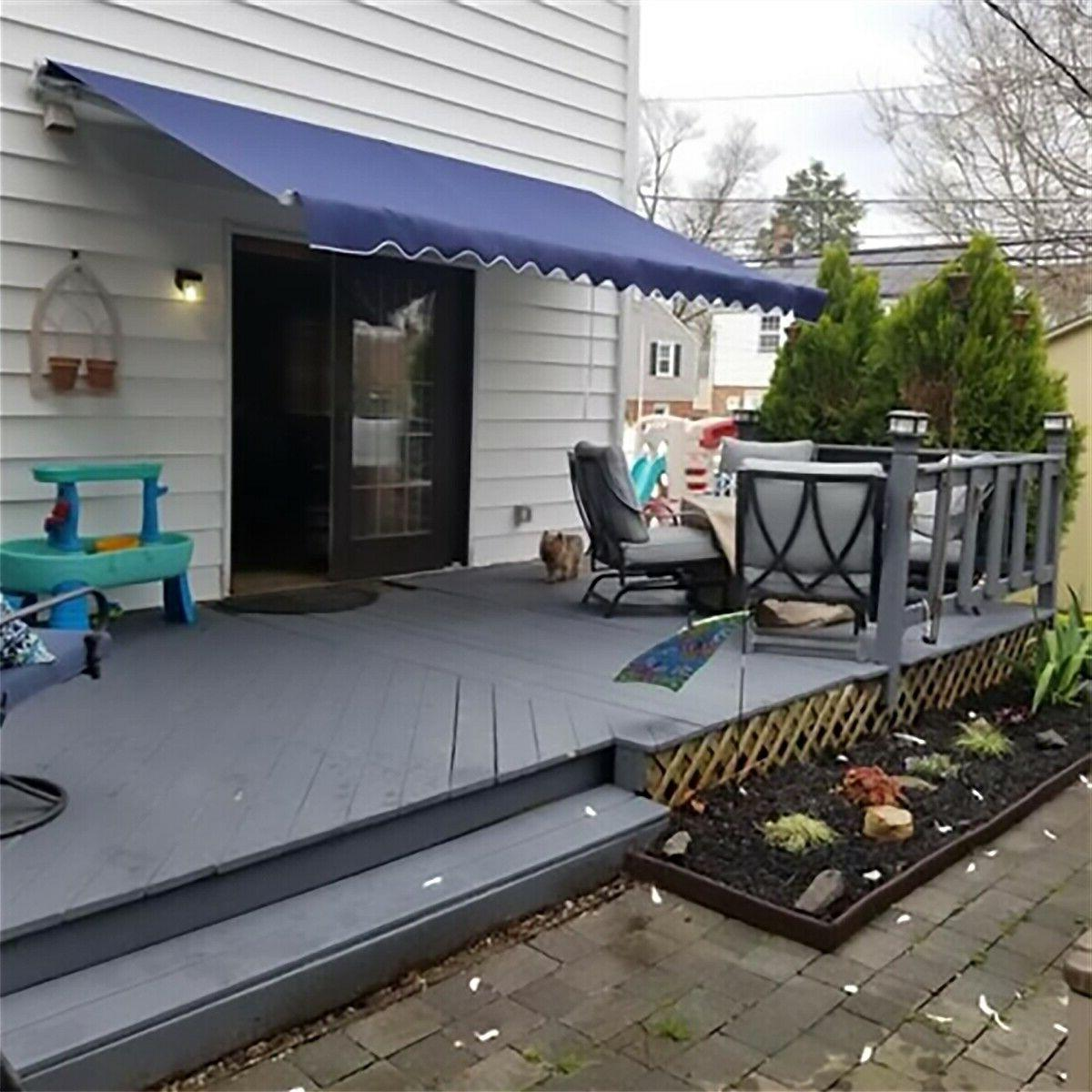 Blue Patio Awning Manual Retractable Awning Deck