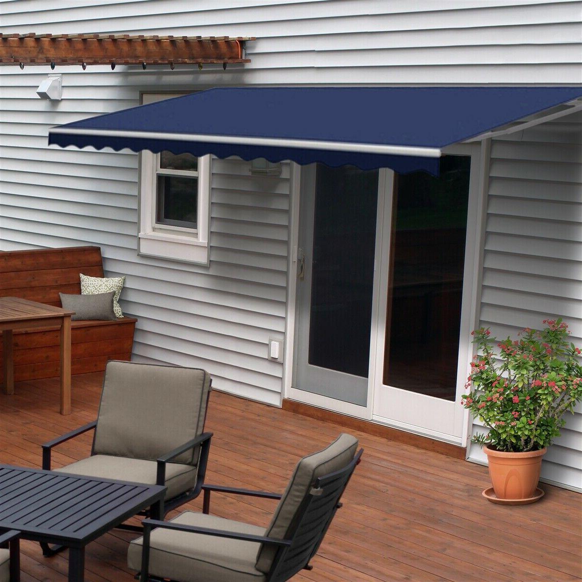 blue patio awning manual retractable shade awning