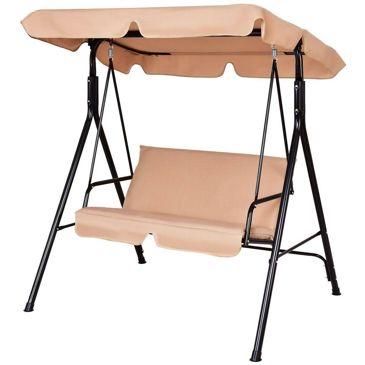 Costway Loveseat Patio Canopy Swing Glider Hammock Cushioned