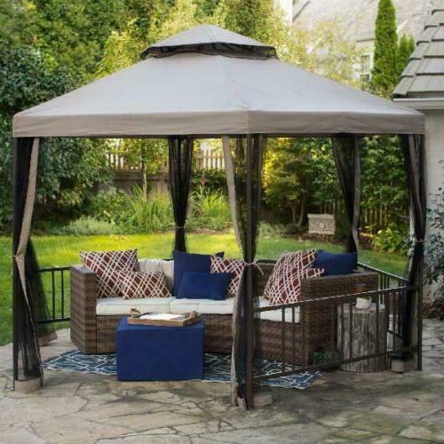 Outdoor Hexagon Gazebo Pergola Metal Canopy Shade Pavilion W