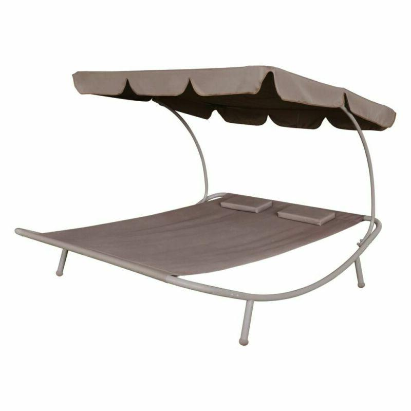 Outdoor Bed with Canopy Pillow Hanging for Poolside