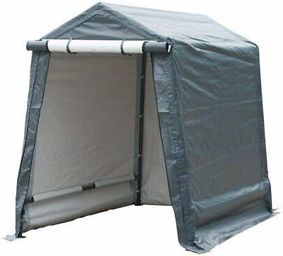 outdoor storage shelter with rollup door storage