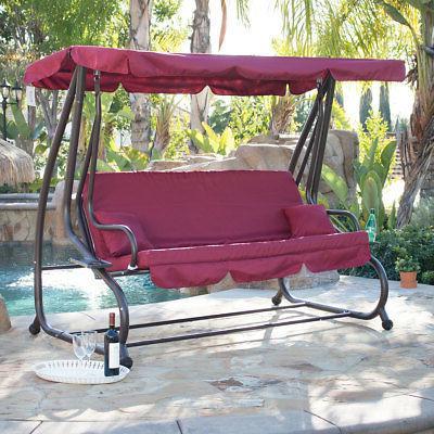 outdoor swing bed patio adjustable canopy deck