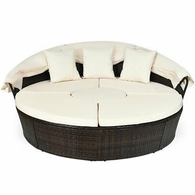 Patio Outdoor Bed Furniture Set w/ Table