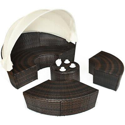 Patio Rattan Outdoor Bed Set Pillow Table