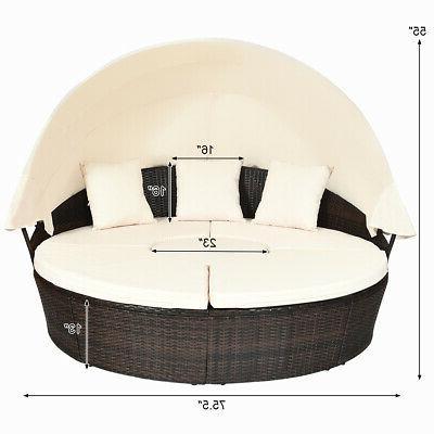 Patio Rattan Outdoor Set Pillow Table