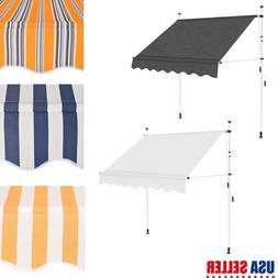 Manual Patio Retractable Deck Awning Sunshade Shelter Canopy