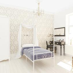 Metal Canopy Bed Frame Twin Size Heavy Duty w/ Headboard Bed