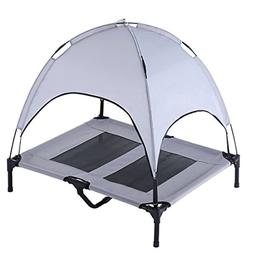 Outdoor Dog Bed Elevated Pet Cot with Canopy Portable for Ca