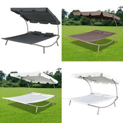 Outdoor Lounge Bed with Canopy & Pillow Brown Hanging for Ga