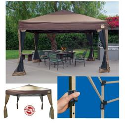 Portable Gazebo Large Canopy 10x10 Steel Frame Instant Brown