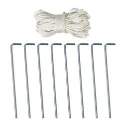 Sunnydaze Galvanized Steel Tent Pegs and Rope Set, 8 Heavy D